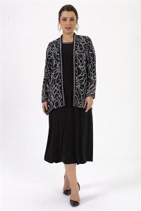 Desenli Şerit Taşlı Büyük Beden Elbise Siyah
