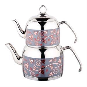 Özkent Menekşe Orta Boy Çelik Sap Desenli Çaydanlık K-308