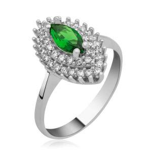 Gümüş Yeşil Mekik Bayan Yüzük LR1230251