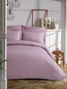 Soley Çift Kişilik Çizgili Saten Nevresim Takımı Elegante Yastık Hediyeli - Lila