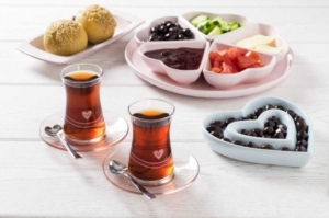 Tantitoni Parça Kalp Desenli Pembe Çay Bardağı Takımı HARE 42361P