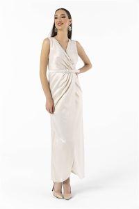 Anvelop Simli Kemerli Uzun Abiye Elbise Bej