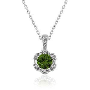 Gümüş Ceviz Yeşili Baget Taşlı Bayan Kolye