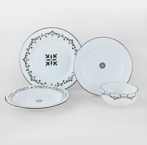 Keramika Riva Beyaz Siyah Yemek Takımı 24 Parça 6 Kişilik