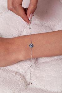 Nazarlık Model Zirkon Taşlı Gümüş Bileklik