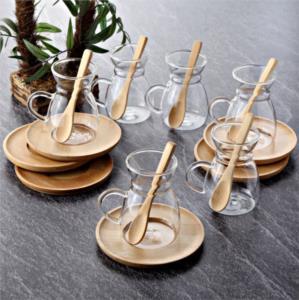 Tohana Bambu Tabaklı 18 Parça Çay Fincanı Seti THN99020