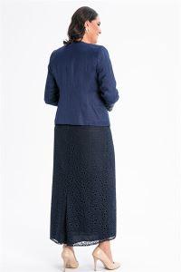 Yakası Kolu Taşlı İçi Dantel Elbise Ceket Büyük Beden Takım Lacivert