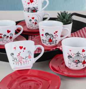 Keramika 6 Kişilik 12 Parça Yedi Tepe Çay Takımı Kera Mira