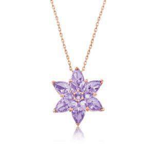 Gümüş Lila Lotus Çiçeği Kolye
