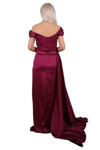 SpringStore Mürdüm Düşük Omuz Yırtmaçlı Saten Abiye Elbise