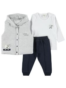 Civil Baby Erkek Bebek Yelekli Takım 6-12 Ay Gri