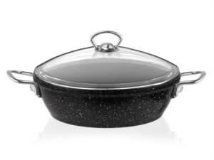 Taç 3438 Gravita Granit Döküm Basık Tencere 24 cm Siyah