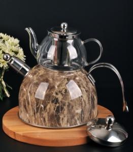 Bayev Mermer Düdüklü Cam Çaydanlık-200602- Kahve