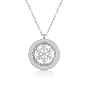 Gümüş Kar Tanesi Bayan Kolye