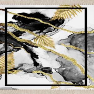 Meg Cloud Mermer Desenli Gold Şeritli  Kaymaz Taban Halı MEG185