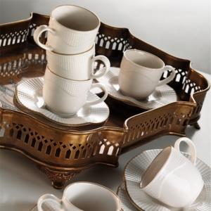 Kütahya Porselen 12 Parça Milena Krem Kahve Takımı