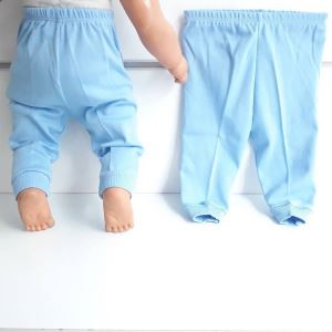 Sade Mavi Tek Alt Bebek Penye Pantolon